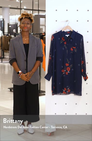 Amaranda Floral Long Sleeve Silk Shirtdress, sales video thumbnail