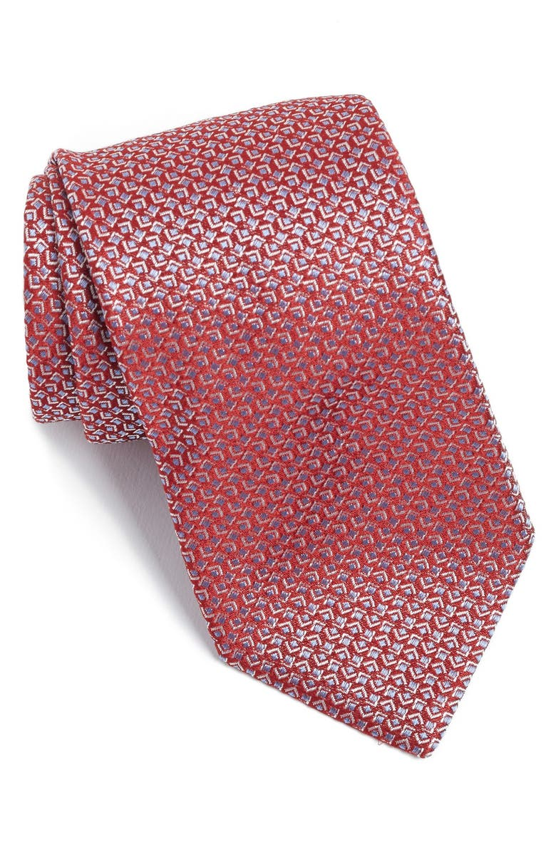 BOSS Geometric Woven Silk Tie, Main, color, 620