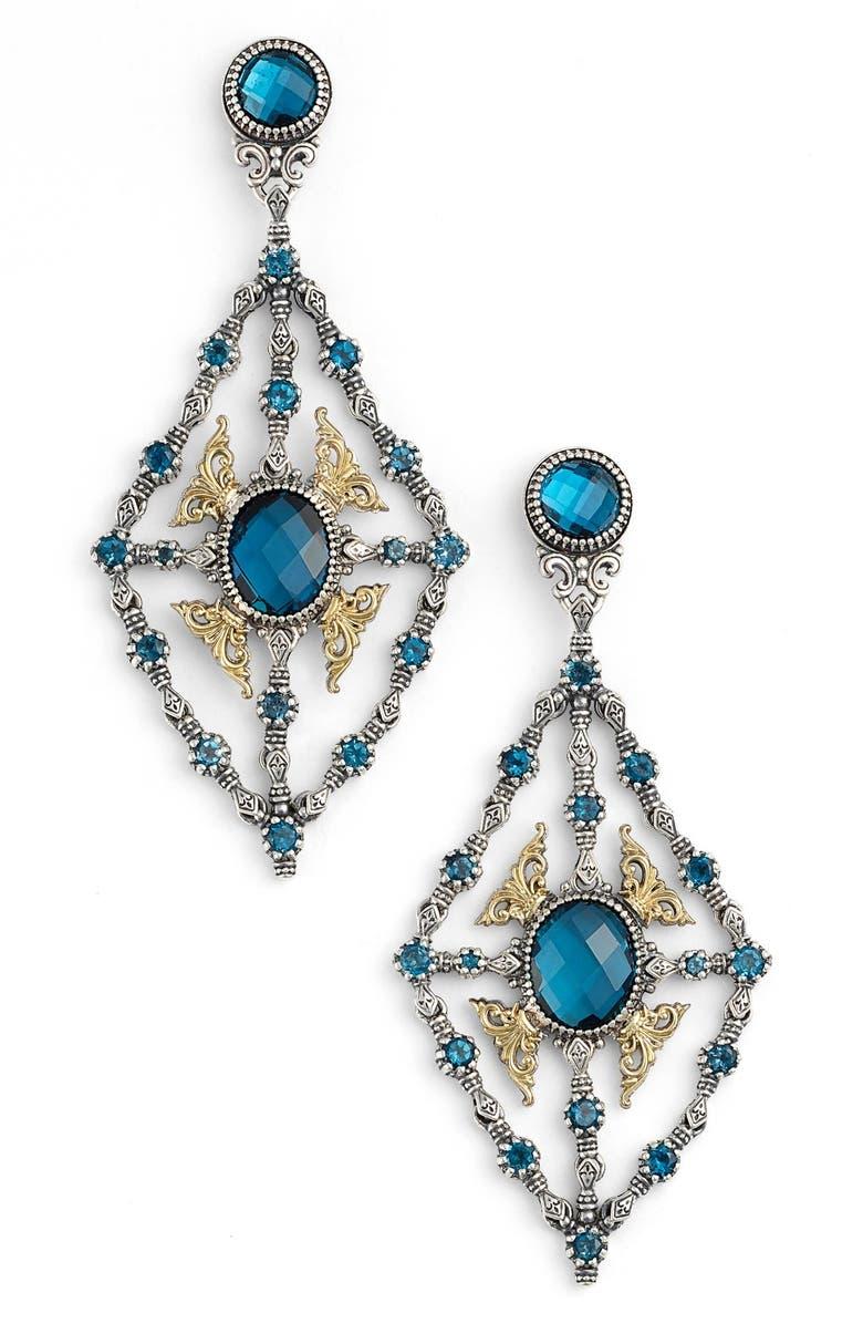 KONSTANTINO 'Thalassa' Blue Topaz Kite Chandelier Earrings, Main, color, SILVER/ LONDON BLUE TOPAZ