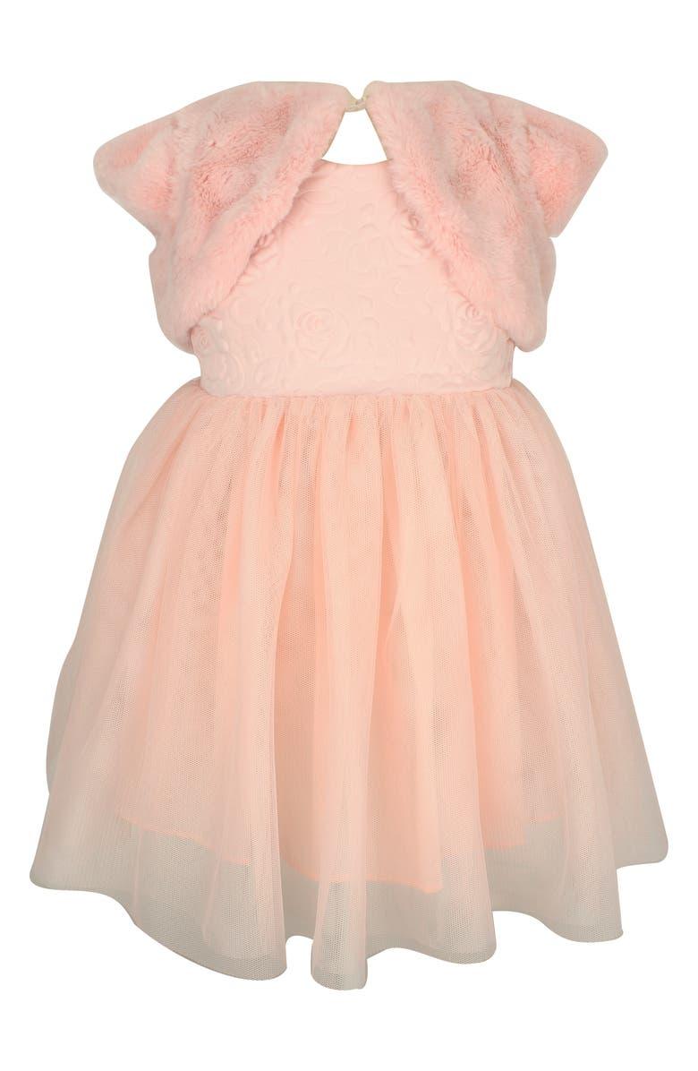 POPATU Tulle Dress & Faux Fur Shrug, Main, color, PINK