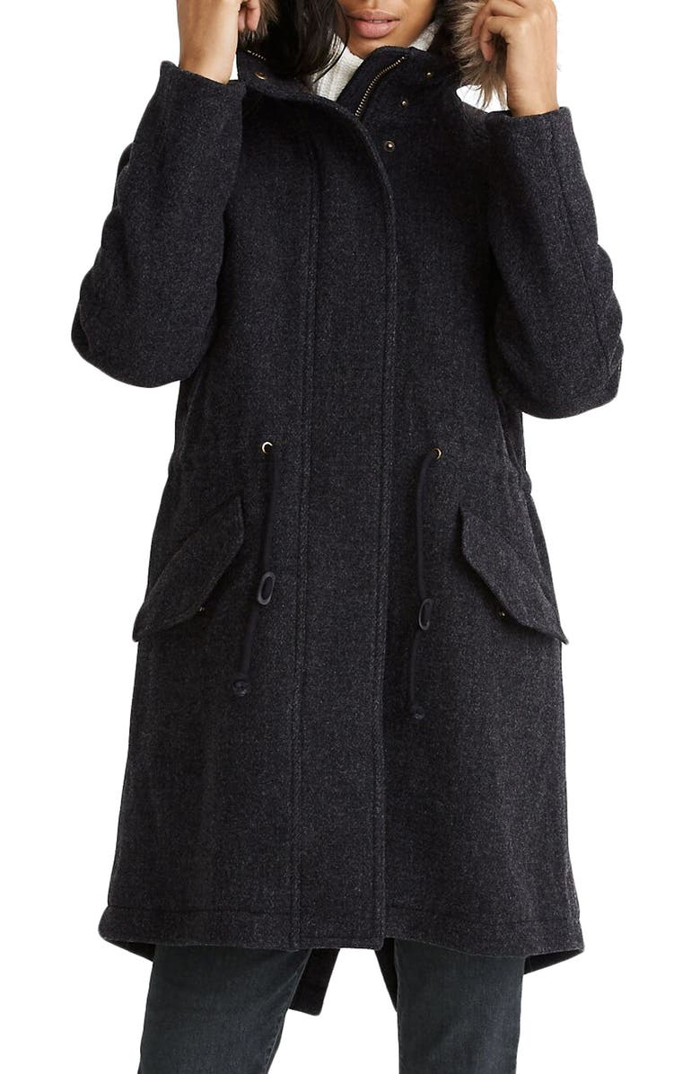 MADEWELL Vancouver Wool Blend Parka with Faux Fur Trim, Main, color, 001