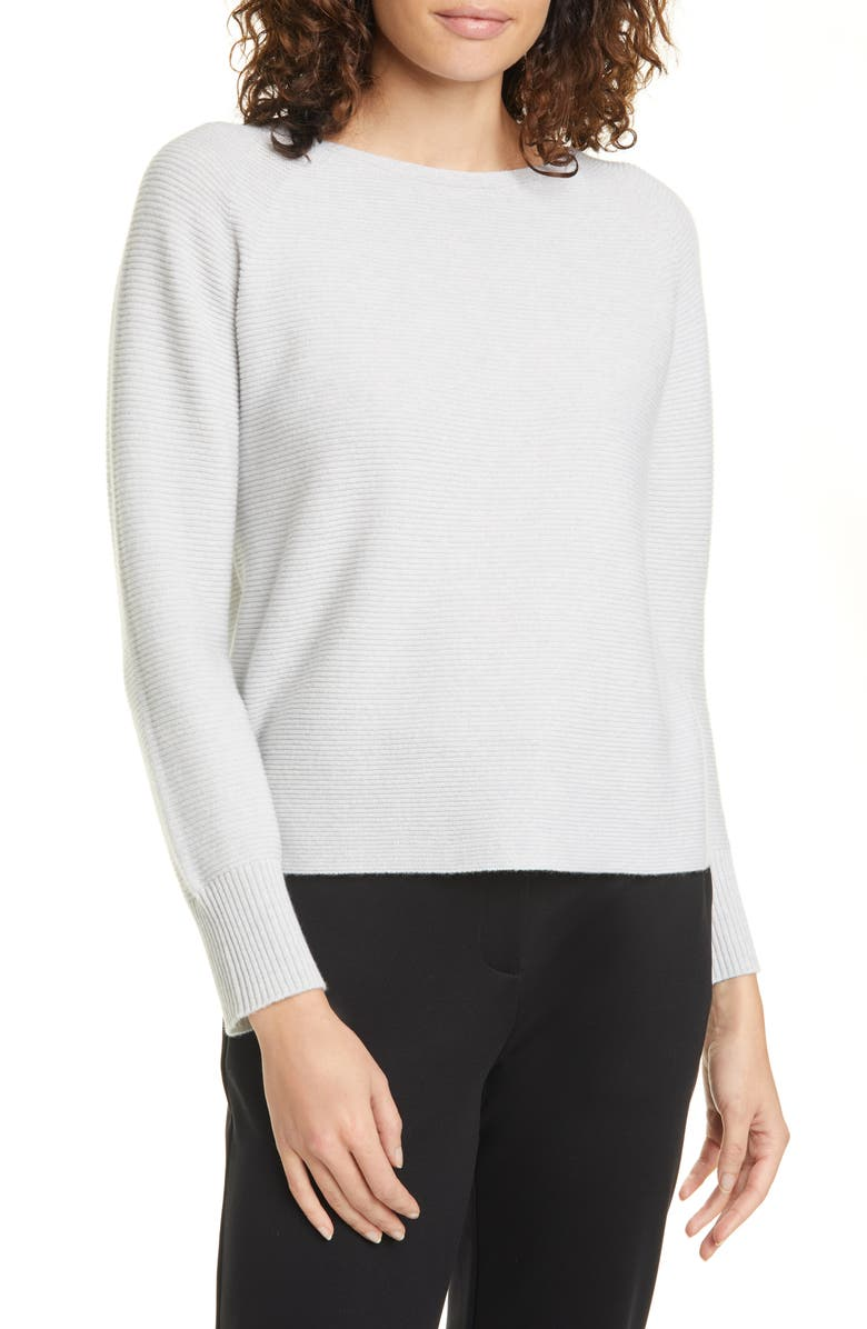 EILEEN FISHER Ballet Neck Cashmere Box Top, Main, color, PEARL
