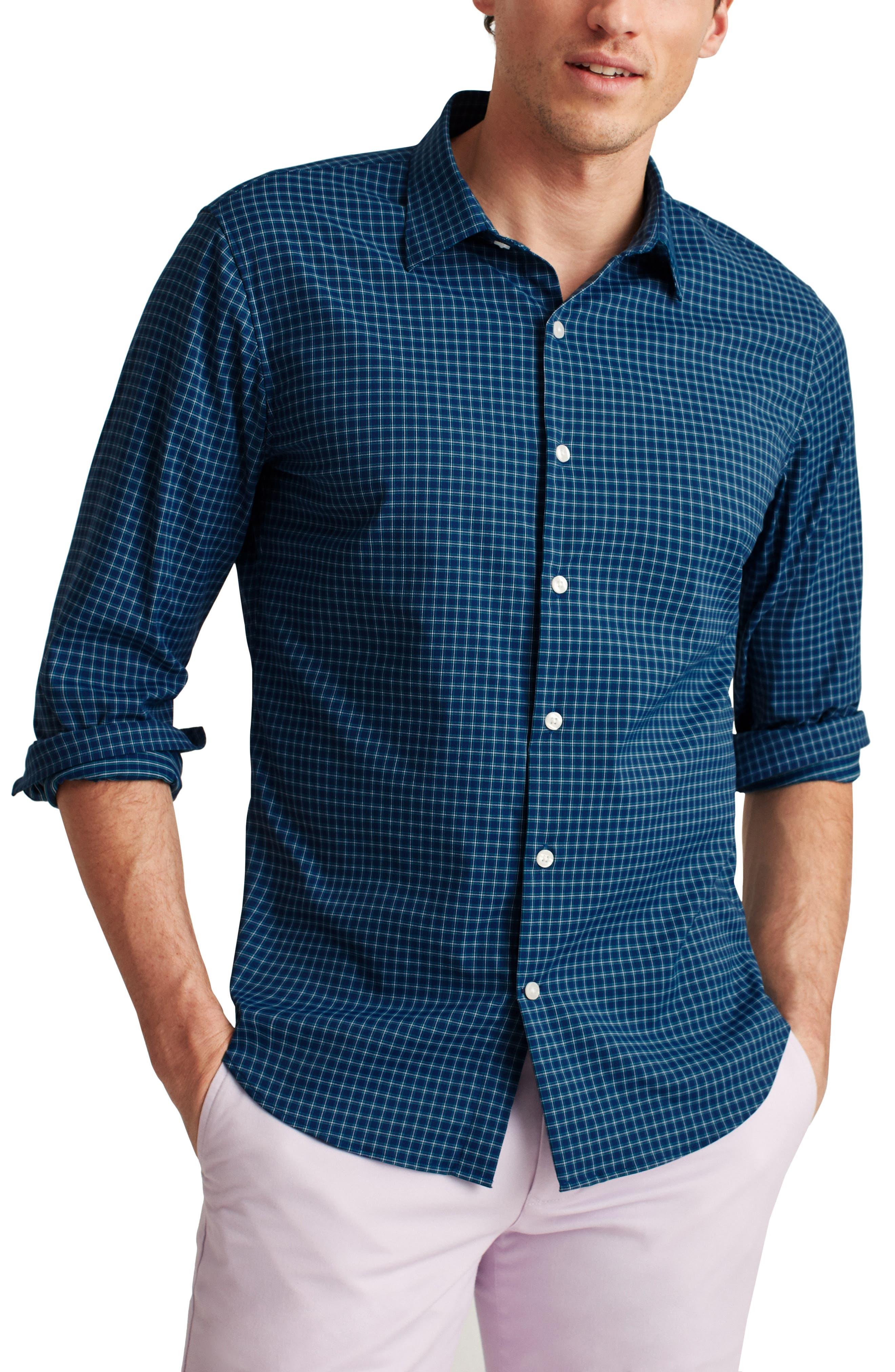 Tech Slim Fit Check Stretch Button-Up Shirt