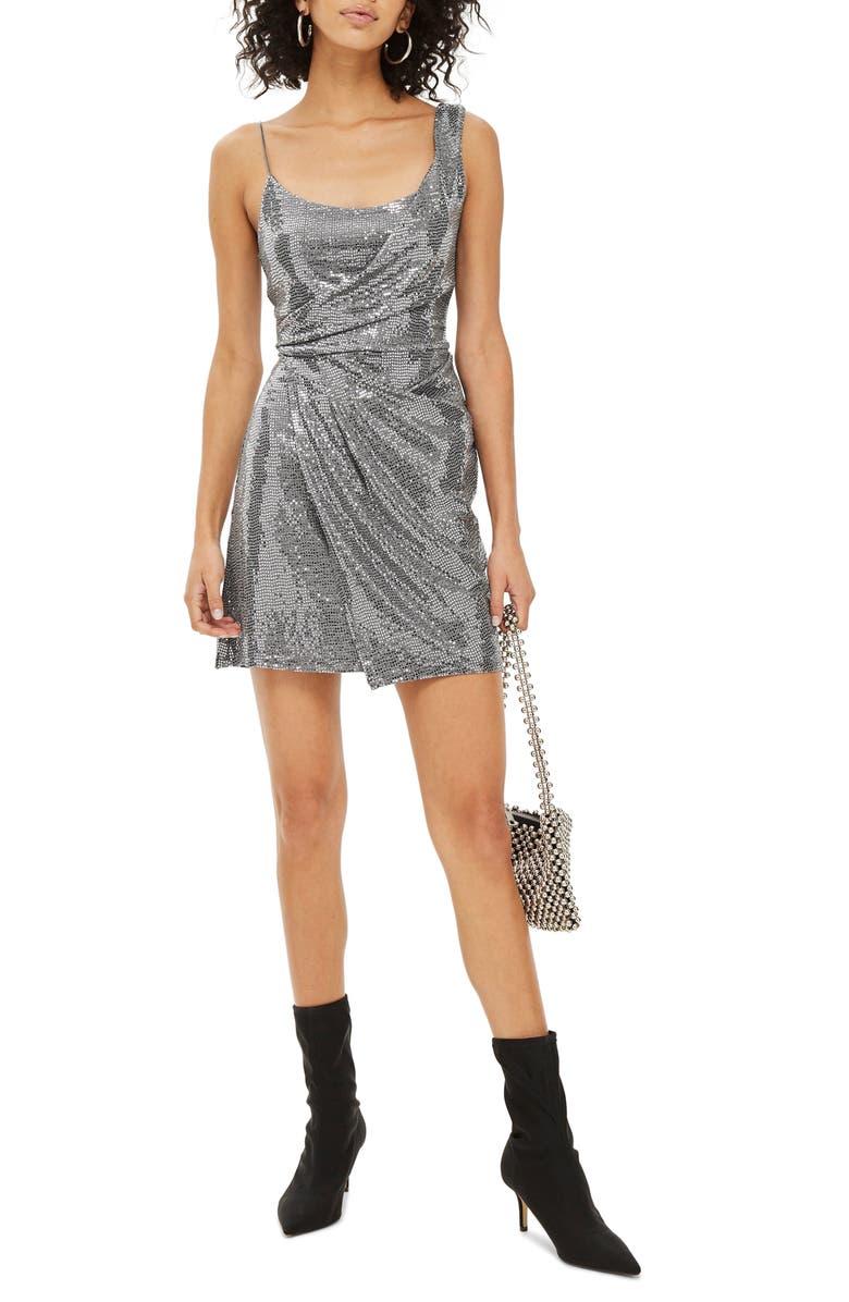 TOPSHOP Sequin Minidress, Main, color, 040