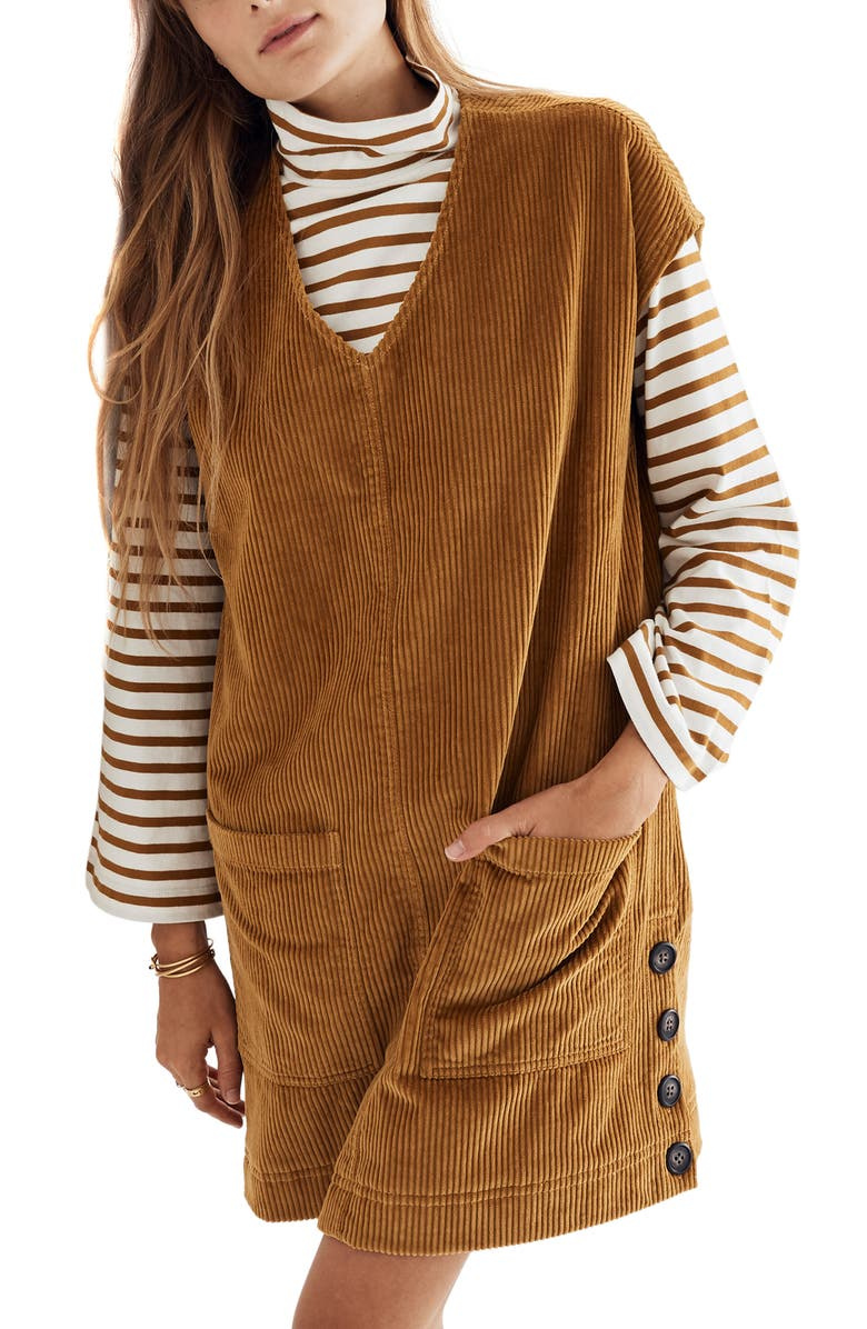 Corduroy Side Button Shift Dress by Madewell