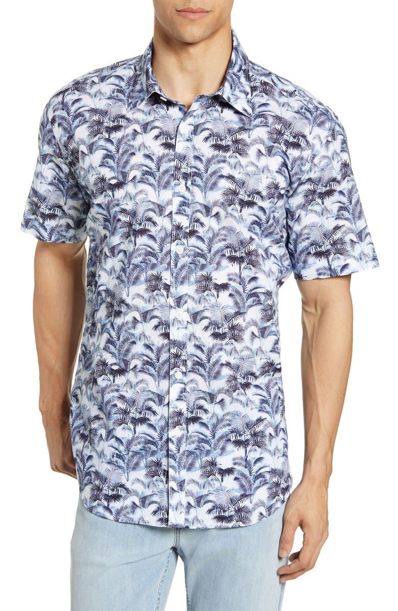 COASTAORO Chesney Regular Fit Tropical Short Sleeve Button-Up Shirt, Main, color, BLUE