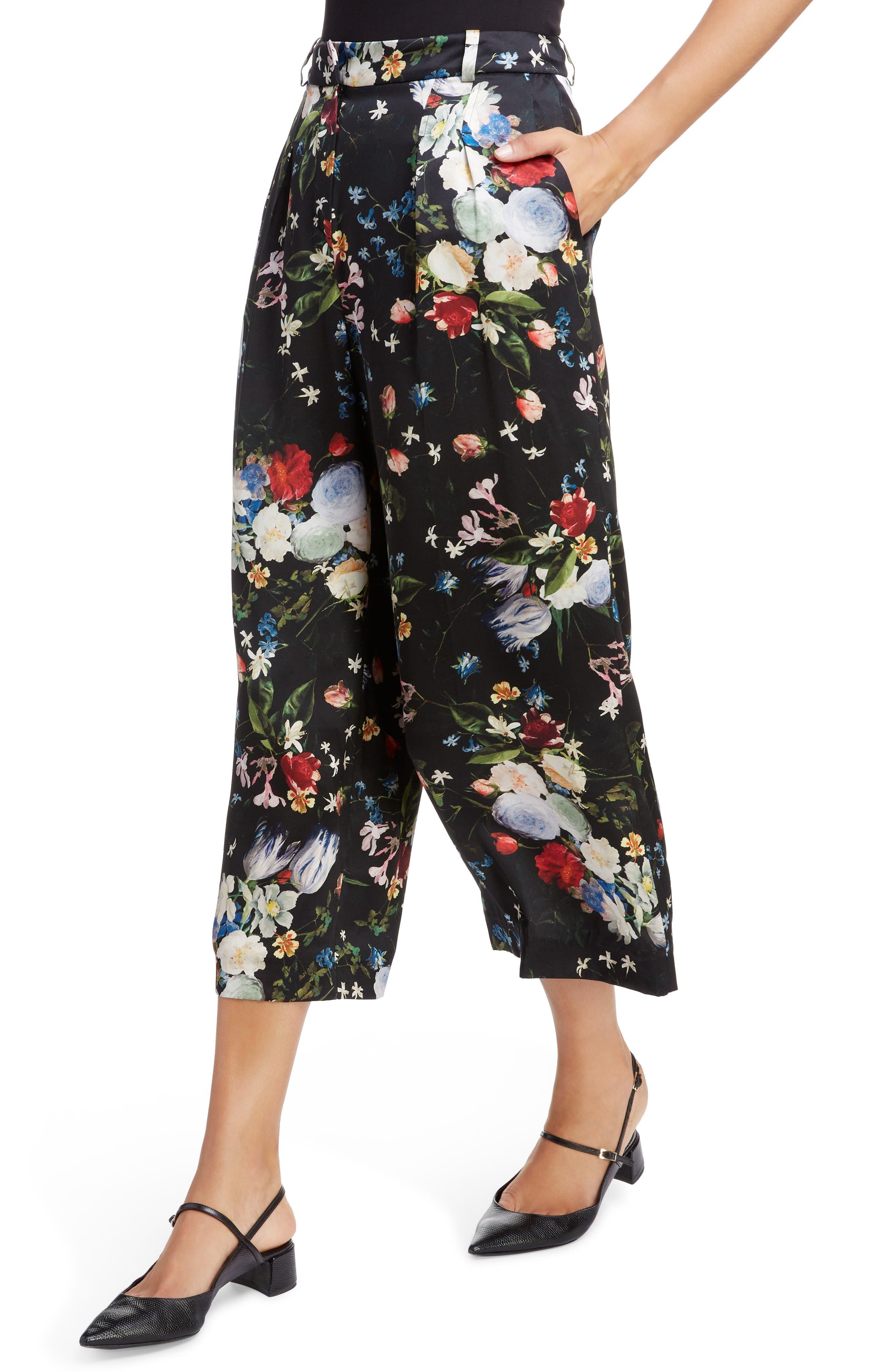 ,                             Floral Silk Satin Pleated Pants,                             Alternate thumbnail 4, color,                             BLACK/ MULTI