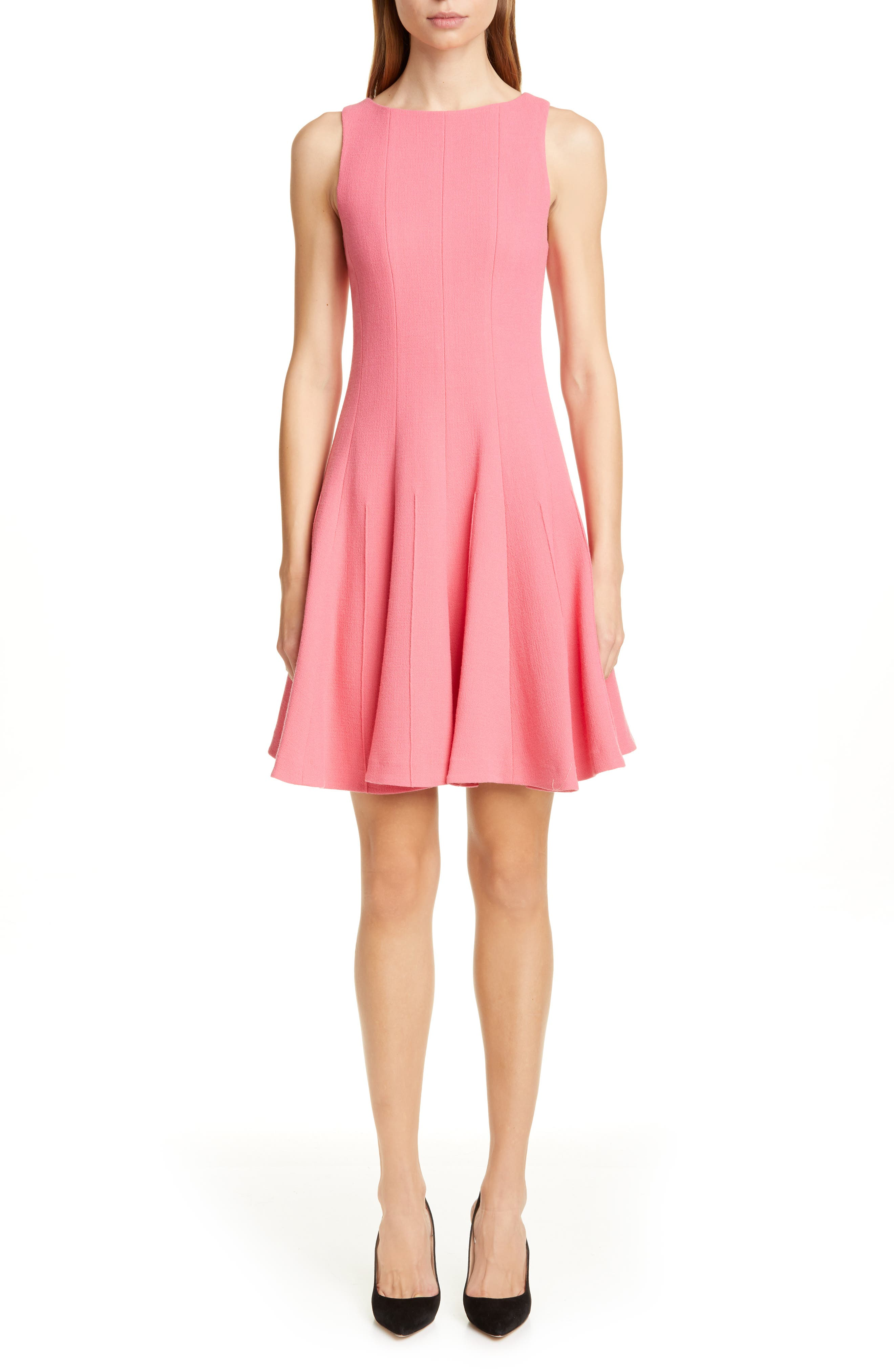 Emporio Armani Wool Crepe Fit & Flare Dress, 50 IT - Red