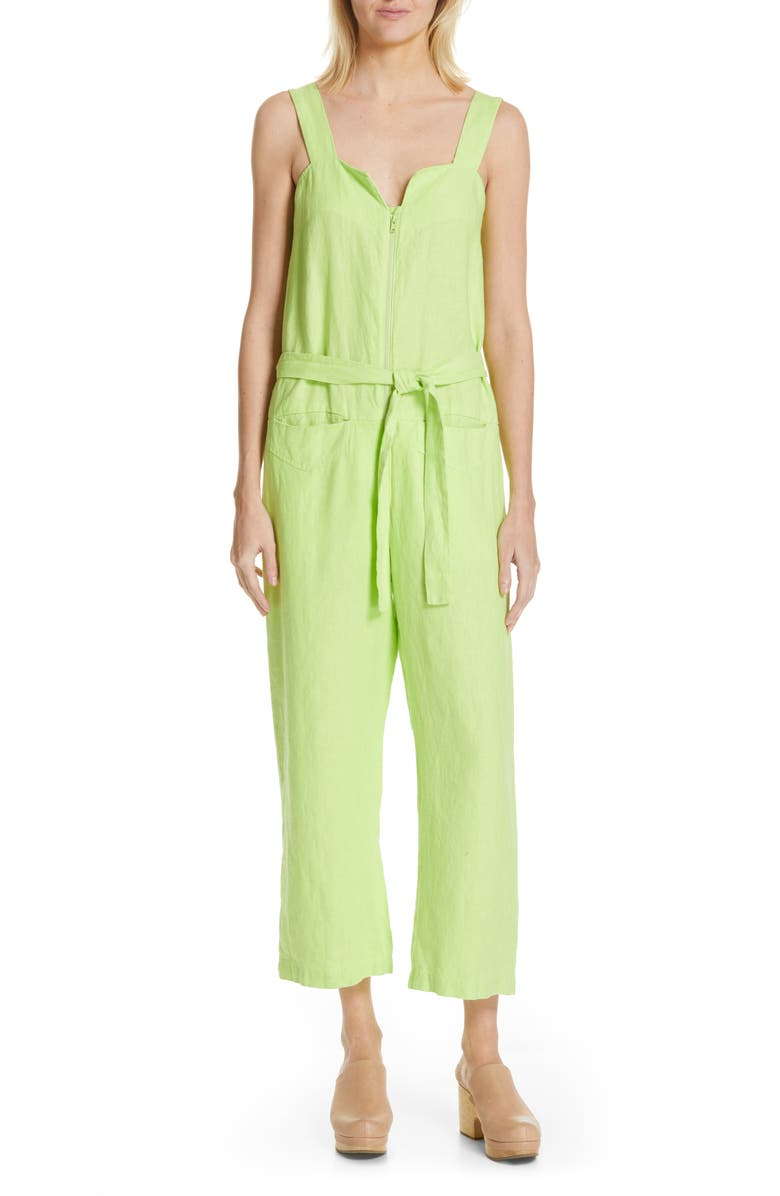 RACHEL COMEY Bend Linen Jumpsuit, Main, color, LIME
