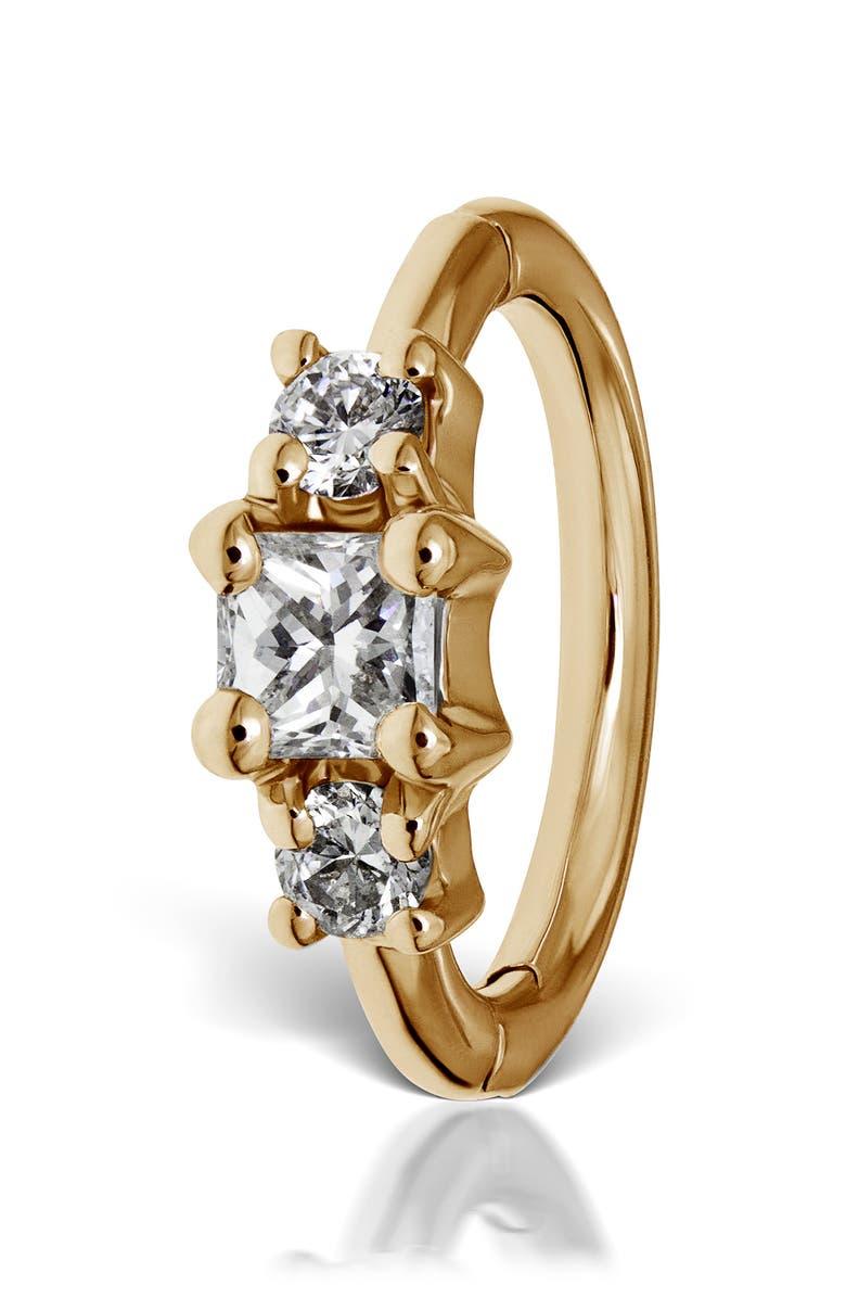 MARIA TASH 6.5mm Diamond Princess Clicker Earring, Main, color, YELLOW GOLD/ DIAMOND