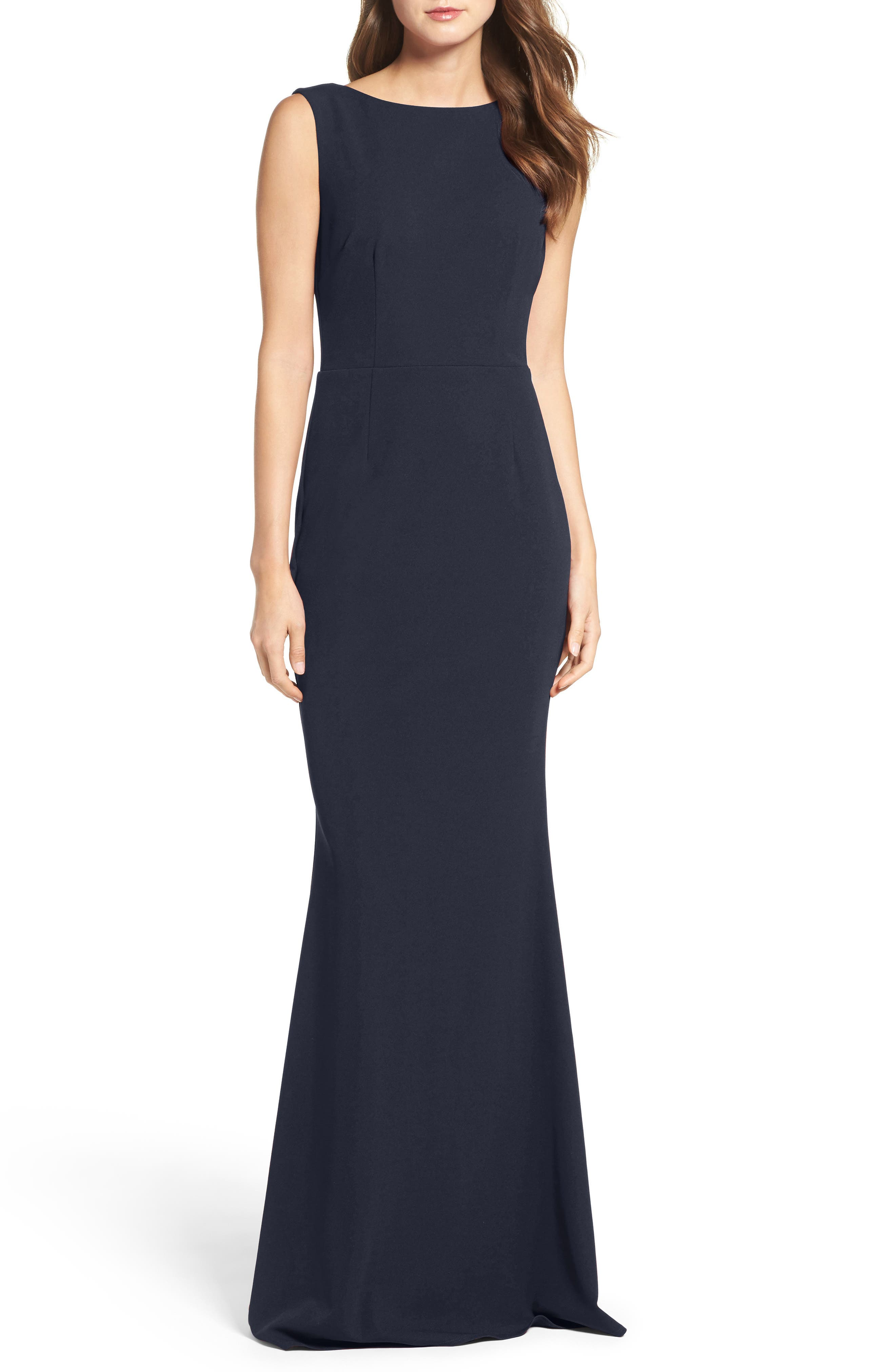 Katie May Vionnet Drape Back Crepe Gown, Blue