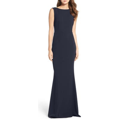 Katie May Vionnet Drape Back Crepe Gown, 8 (similar to 1) - Blue