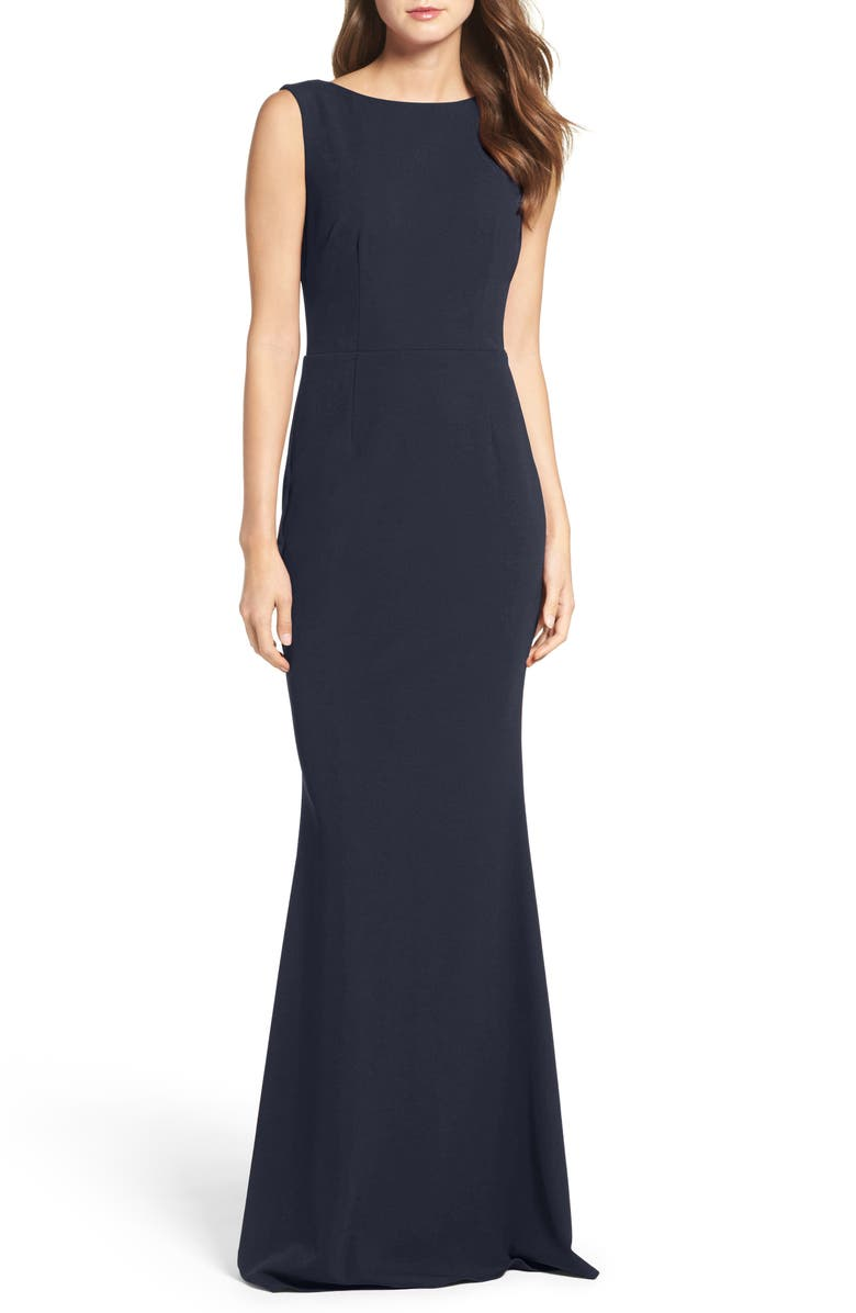 KATIE MAY Vionnet Drape Back Crepe Gown, Main, color, NAVY