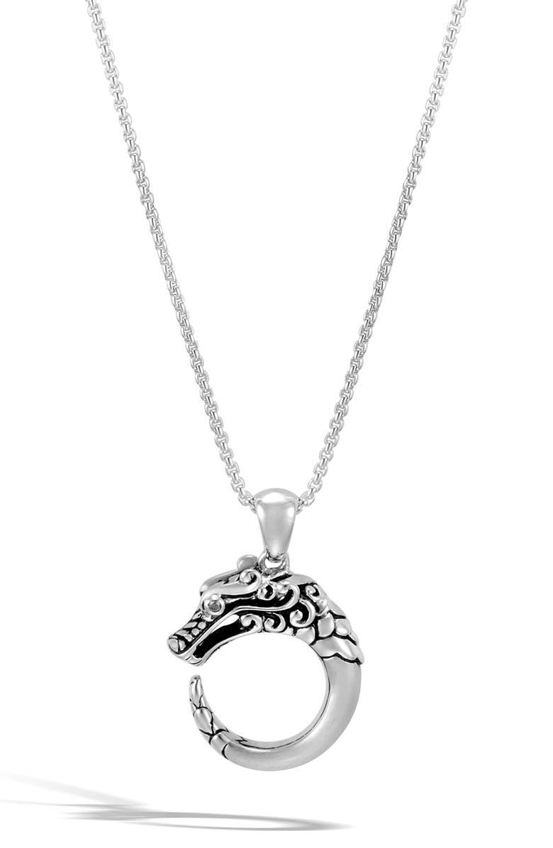 JOHN HARDY Legends Naga Pendant Necklace, Main, color, SILVER