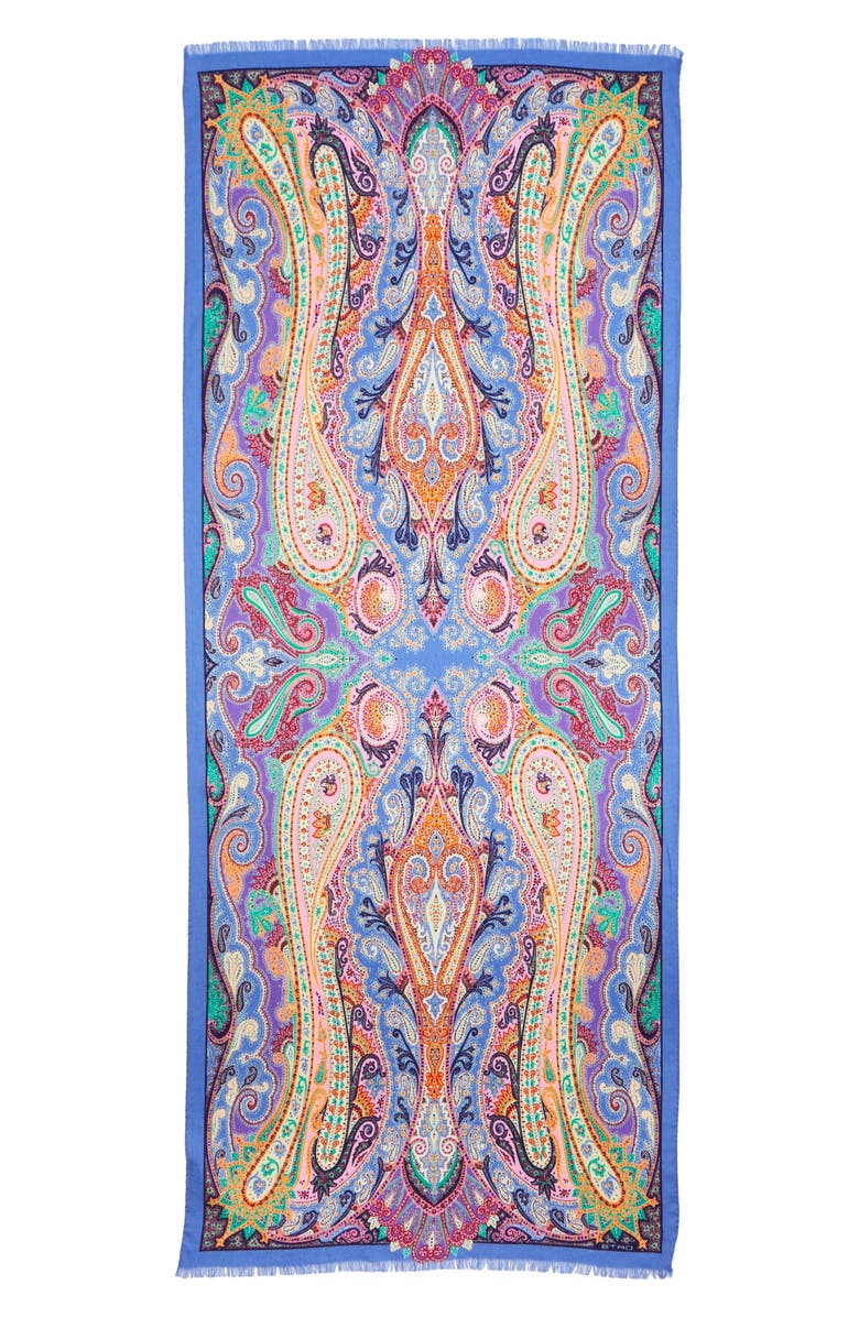 ETRO Delhy Paisley Wool & Silk Scarf, Main, color, PERIWINKLE BLUE