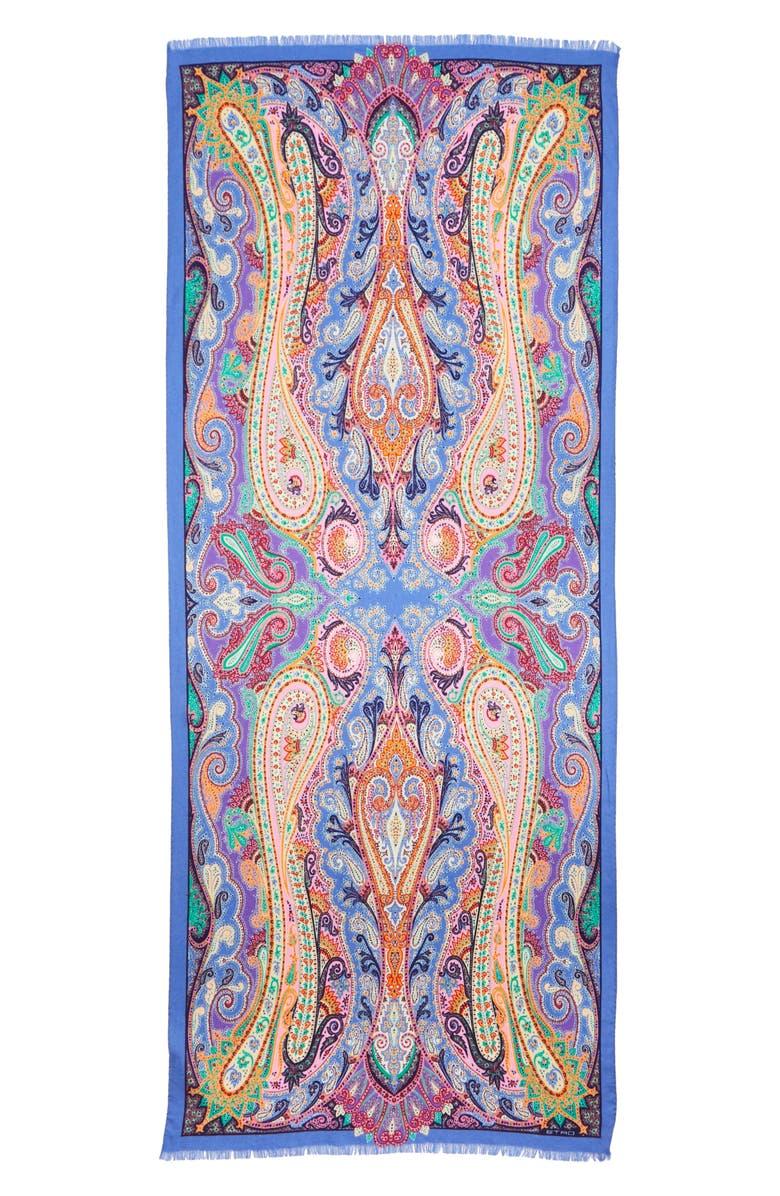 ETRO Delhy Paisley Wool & Silk Scarf, Main, color, 400