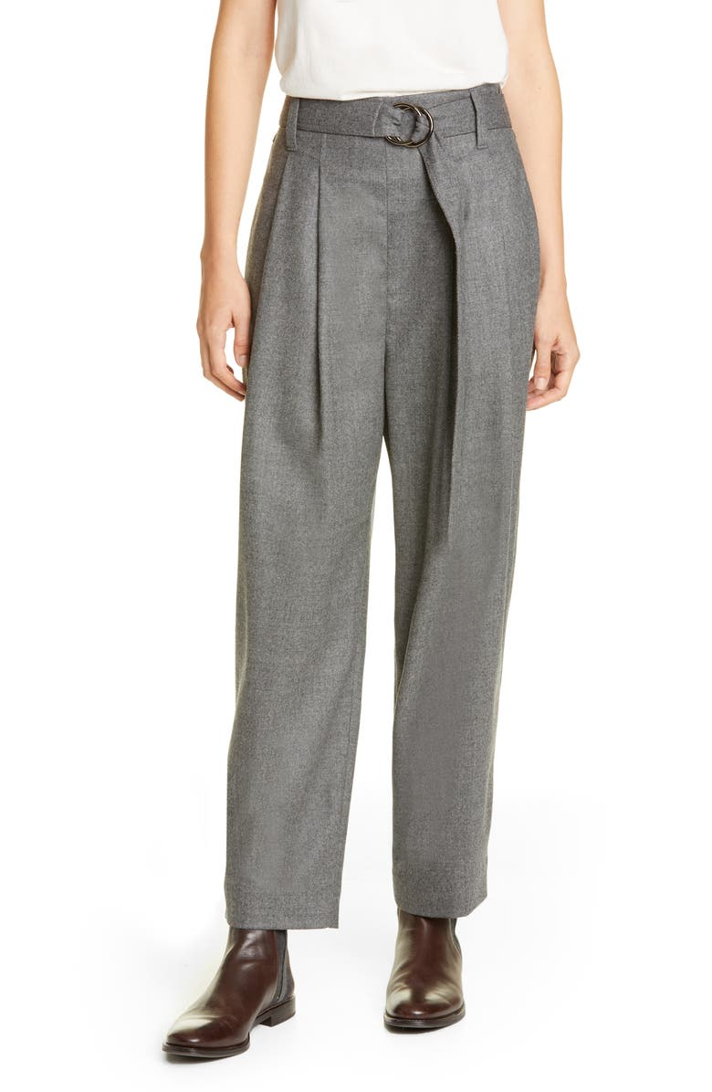 BRUNELLO CUCINELLI Belted Stretch Wool Flannel Pants, Main, color, MED GREY