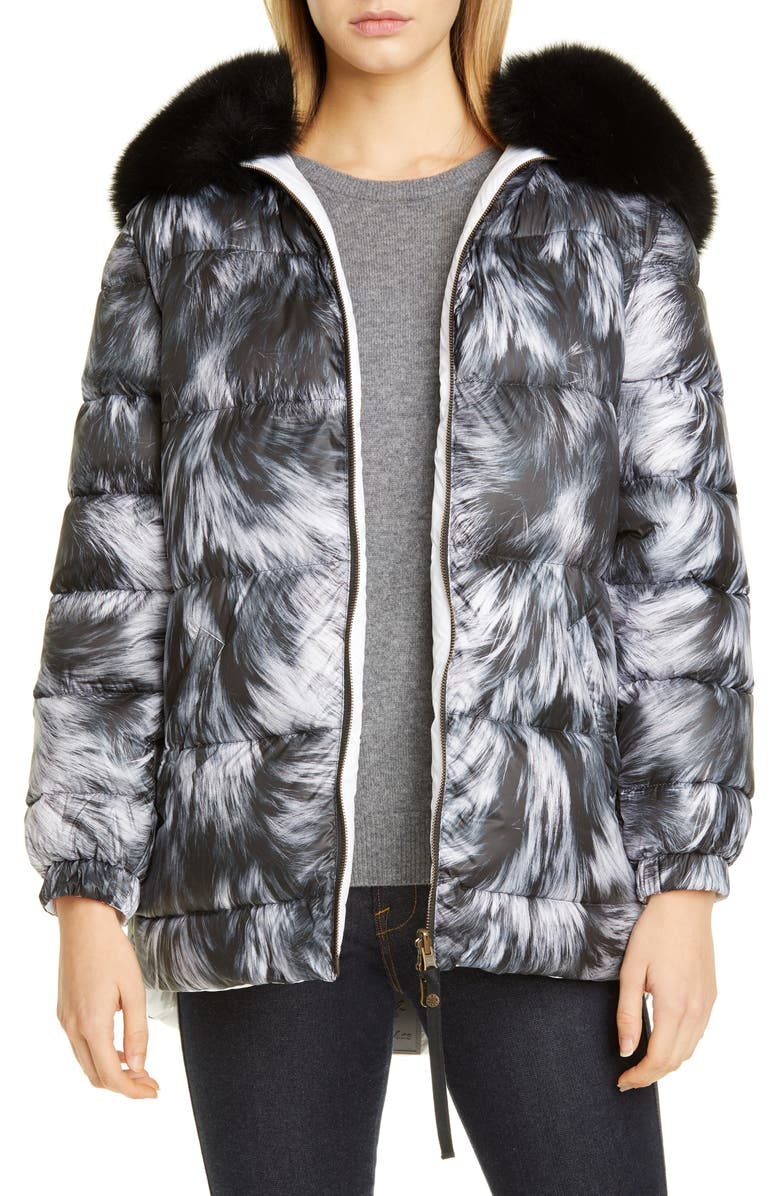 MR & MRS ITALY Reversible Fur Print Down Puffer Coat with Removable Genuine Fox Fur Trim, Main, color, BLACK/ WHITE