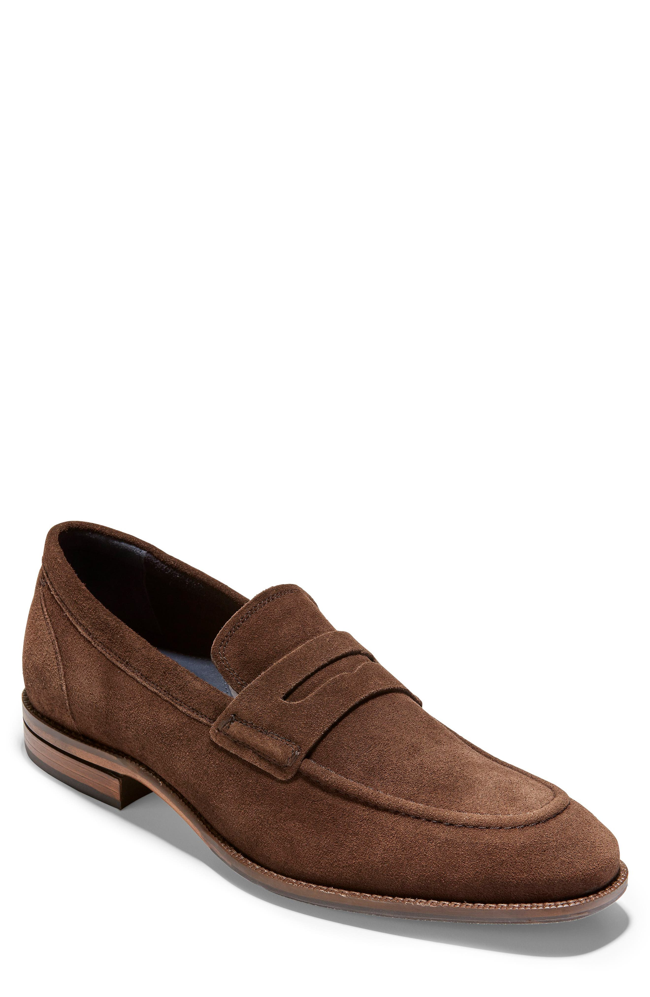 ,                             Warner Grand Penny Loafer,                             Main thumbnail 1, color,                             BOURBON SUEDE