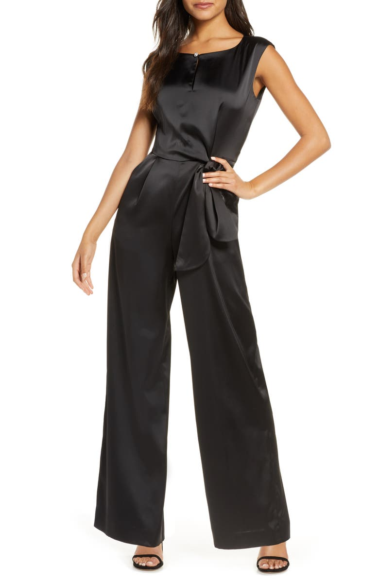 TAHARI Sleeveless Tie Waist Satin Jumpsuit, Main, color, BLACK