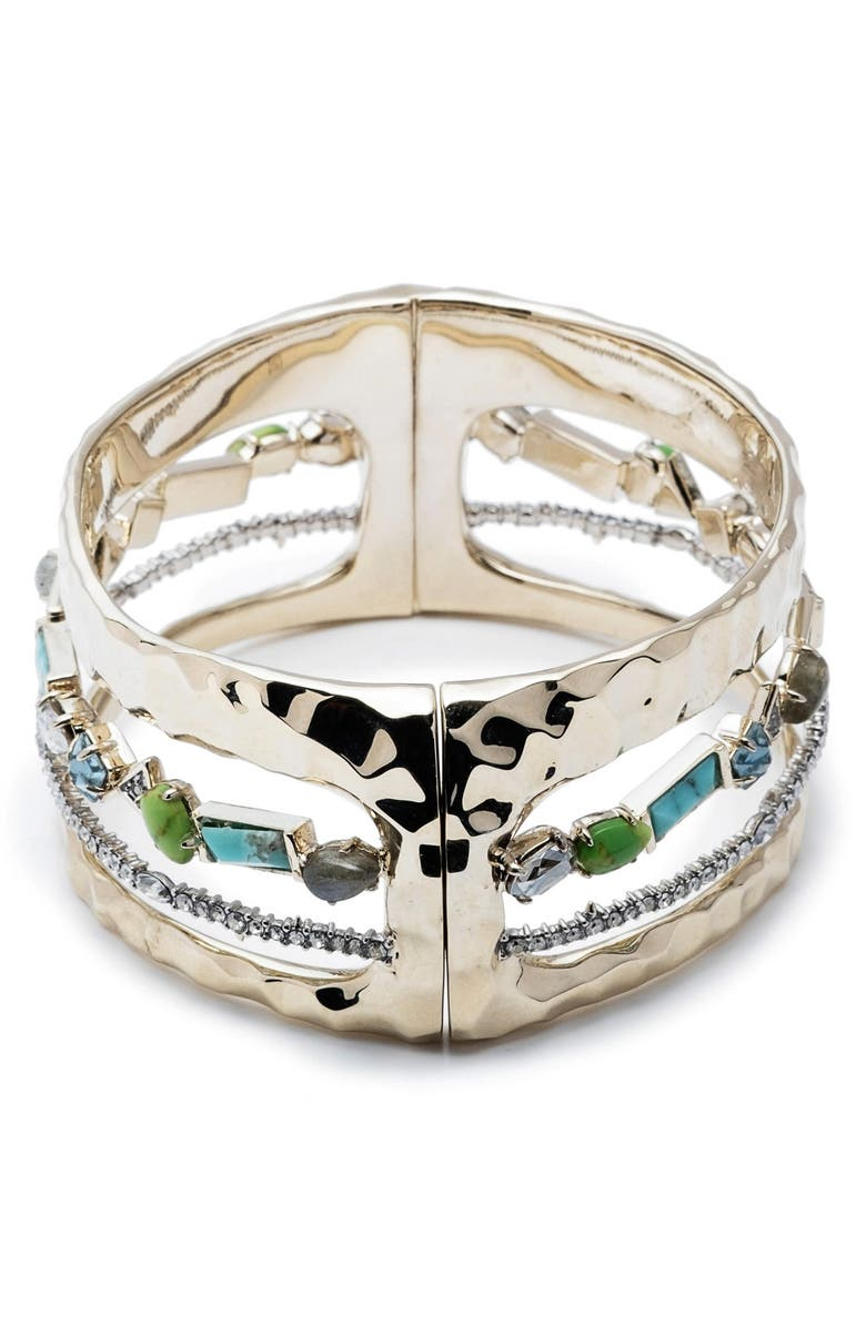 ALEXIS BITTAR Hammered Metal & Multi-Stone Hinge Bracelet, Main, color, TWO TONE