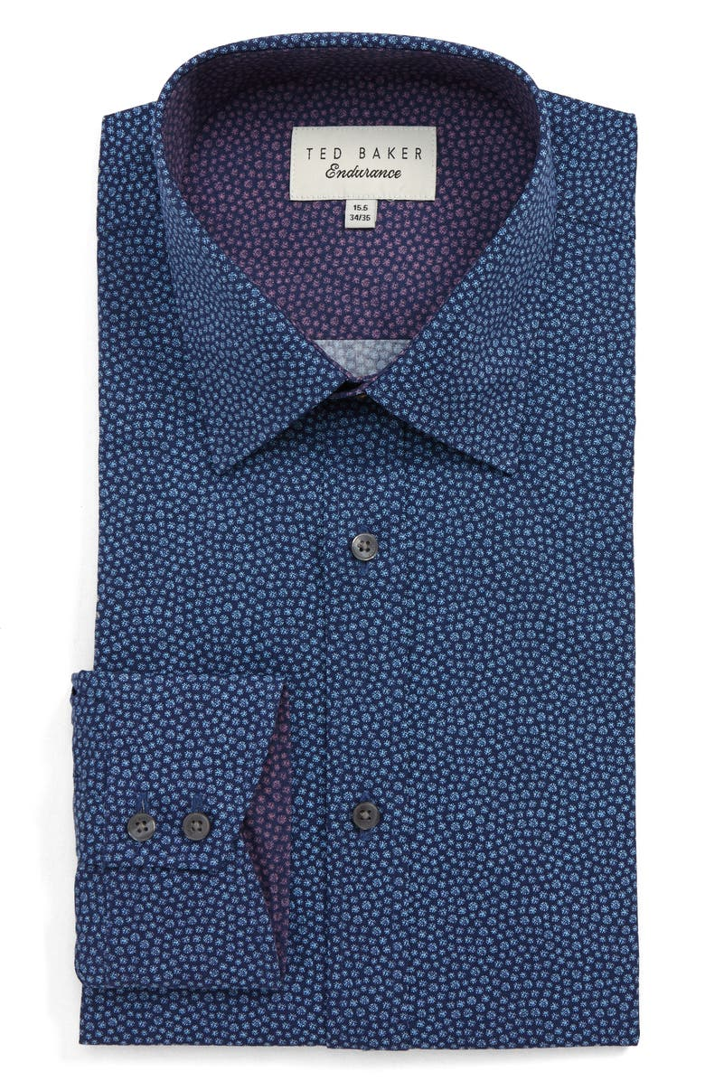TED BAKER LONDON Endurance Belugar Extra Slim Fit Dot Dress Shirt, Main, color, NAVY