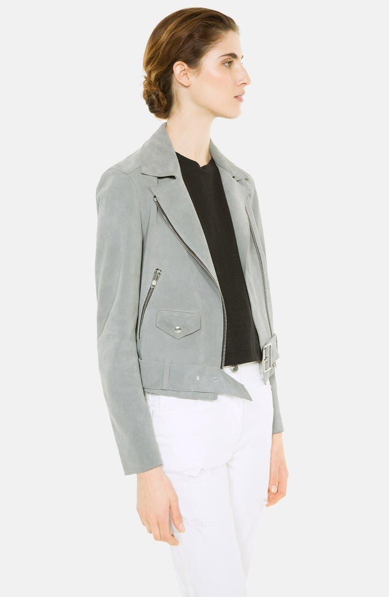 SANDRO 'Vacances' Suede Moto Jacket, Main, color, 020
