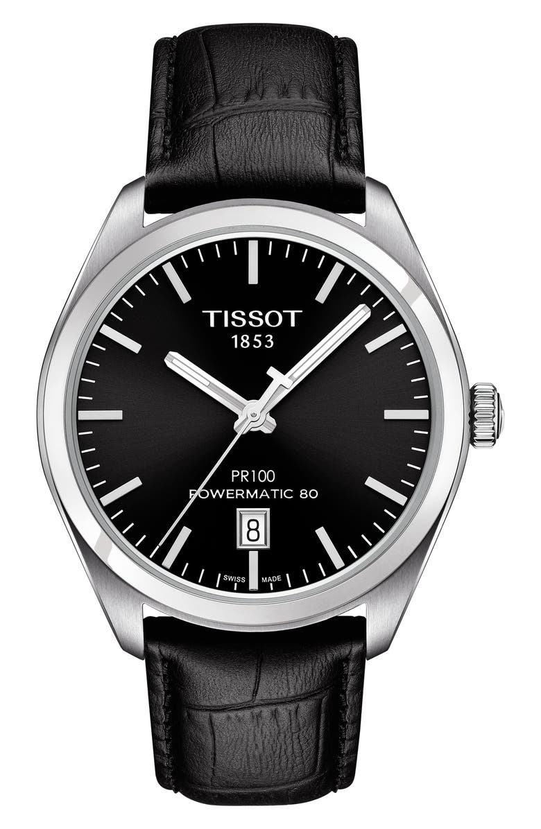 TISSOT PR 100 Powermatic 80 Leather Strap Watch, 39mm, Main, color, BLACK/ SILVER