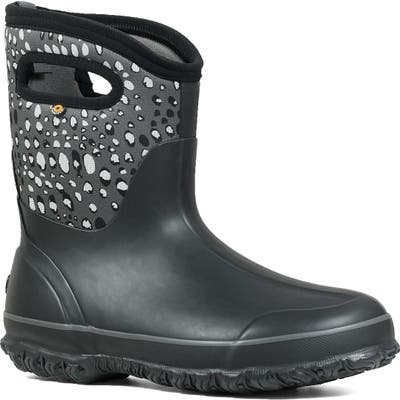 Bogs Classic Mid Appaloosa Insulated Waterproof Rain Boot, Black