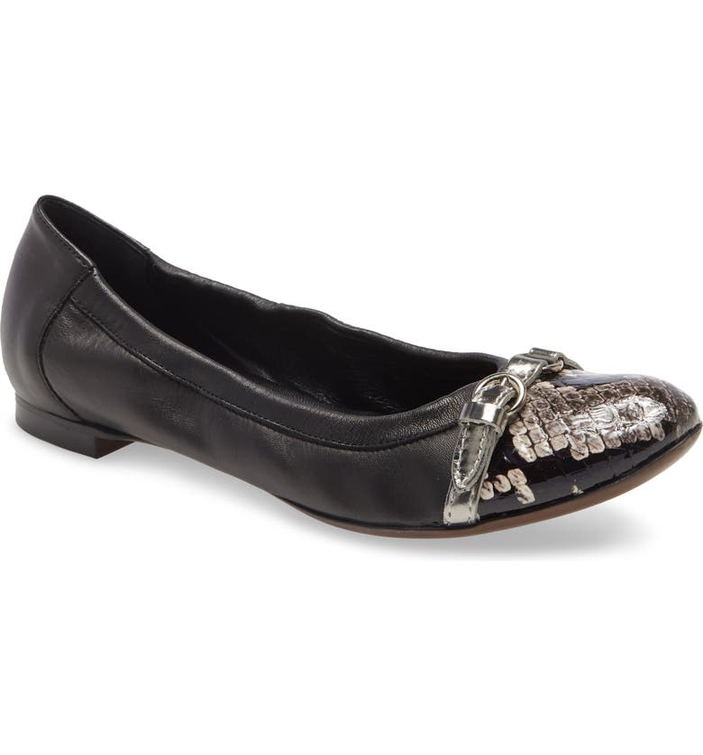 AGL Cap Toe Ballet Flat, Main, color, BLACK LEATHER WITH SNAKE TOE
