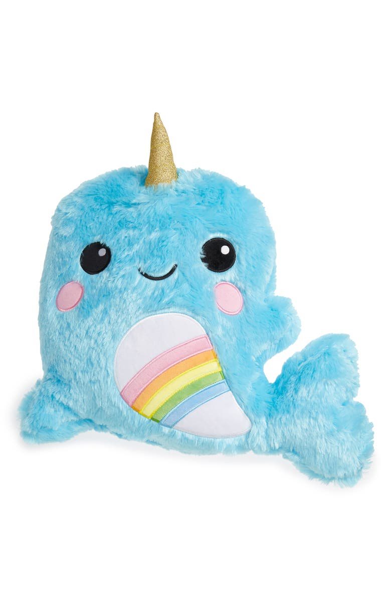 ISCREAM Rainbow Narwhal Bubblegum Scented Faux Fur Accent Pillow, Main, color, 400