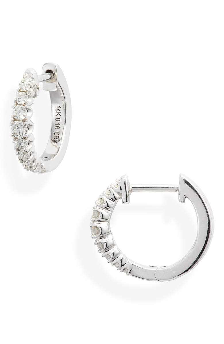 DANA REBECCA DESIGNS Vivian Lily Diamond Huggie Hoop Earrings, Main, color, WHITE GOLD/ DIAMOND