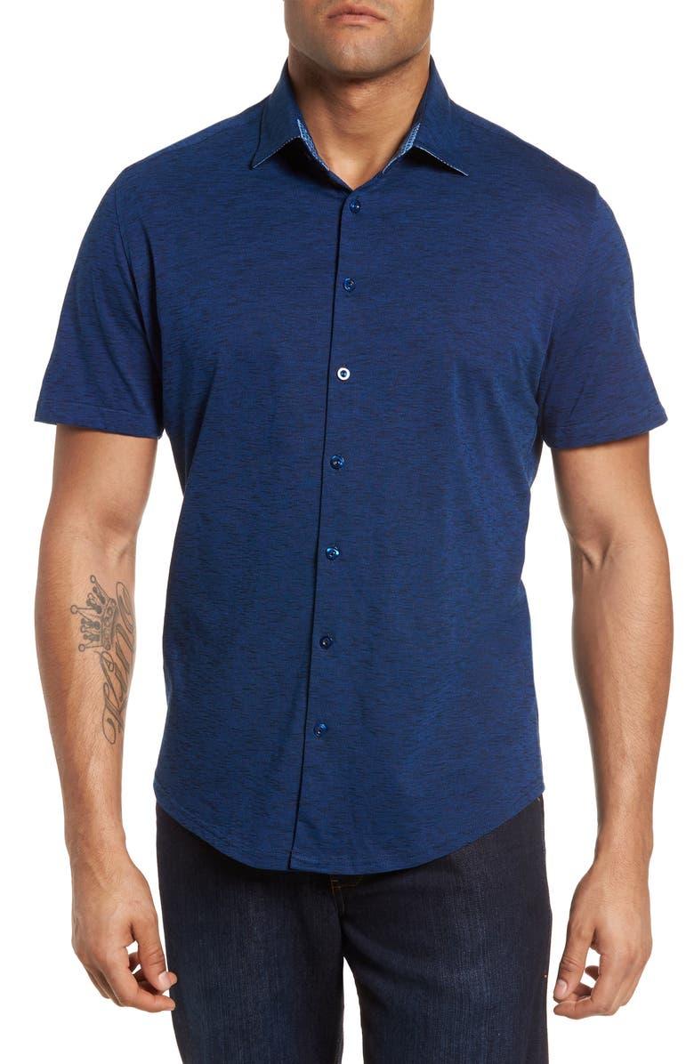 STONE ROSE Regular Fit Flame Knit Shirt, Main, color, NAVY