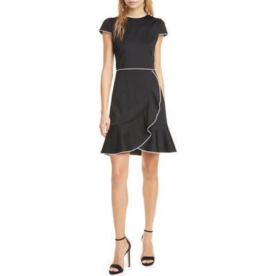Alice + Olivia Kirby Piped Ruffle Dress, Black