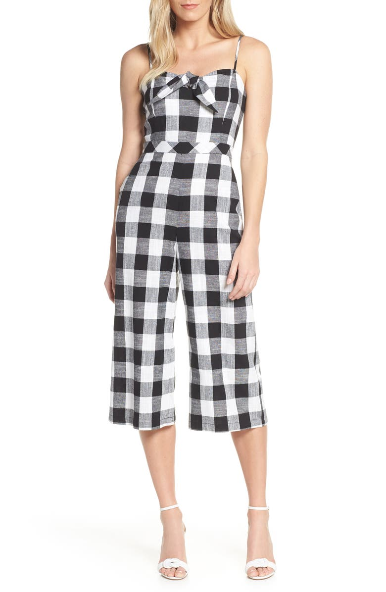 FOREST LILY Gingham Cotton & Linen Jumpsuit, Main, color, BLACK/ WHITE