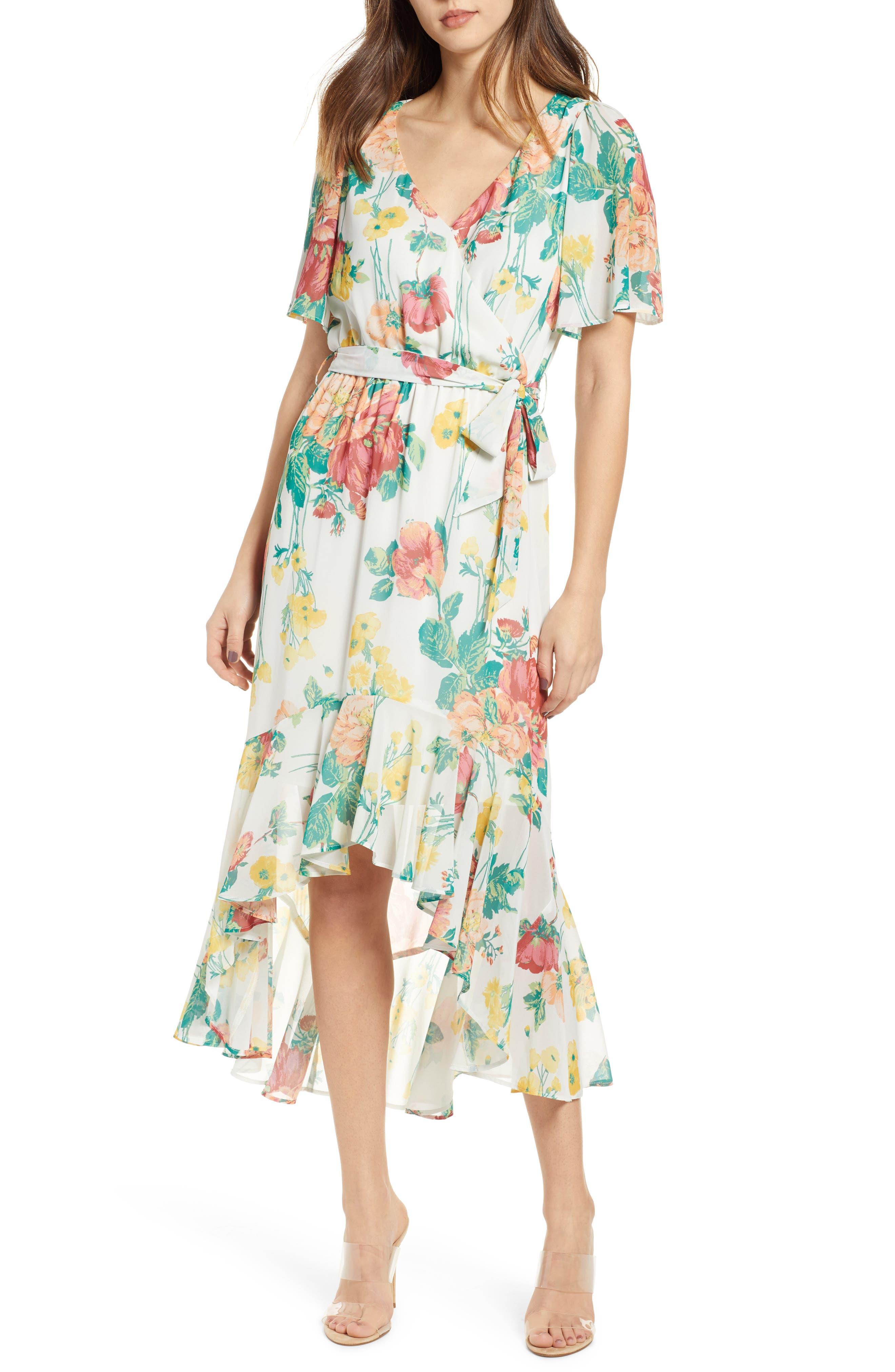 Flutter Sleeve High/Low Dress, Main, color, IVORY BOLD ROSE
