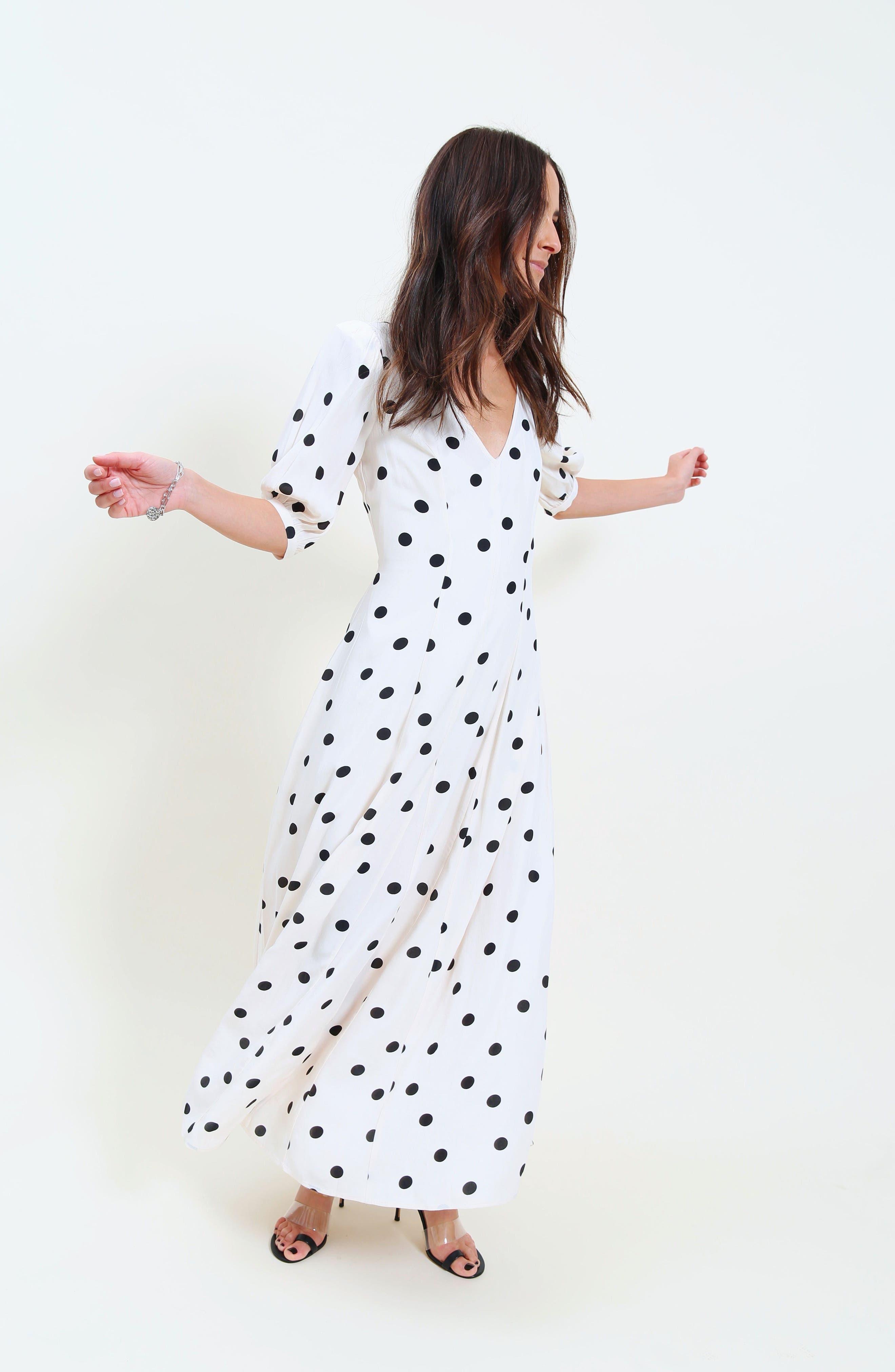,                             Print Dress,                             Alternate thumbnail 2, color,                             BEIGE ECRU DOT