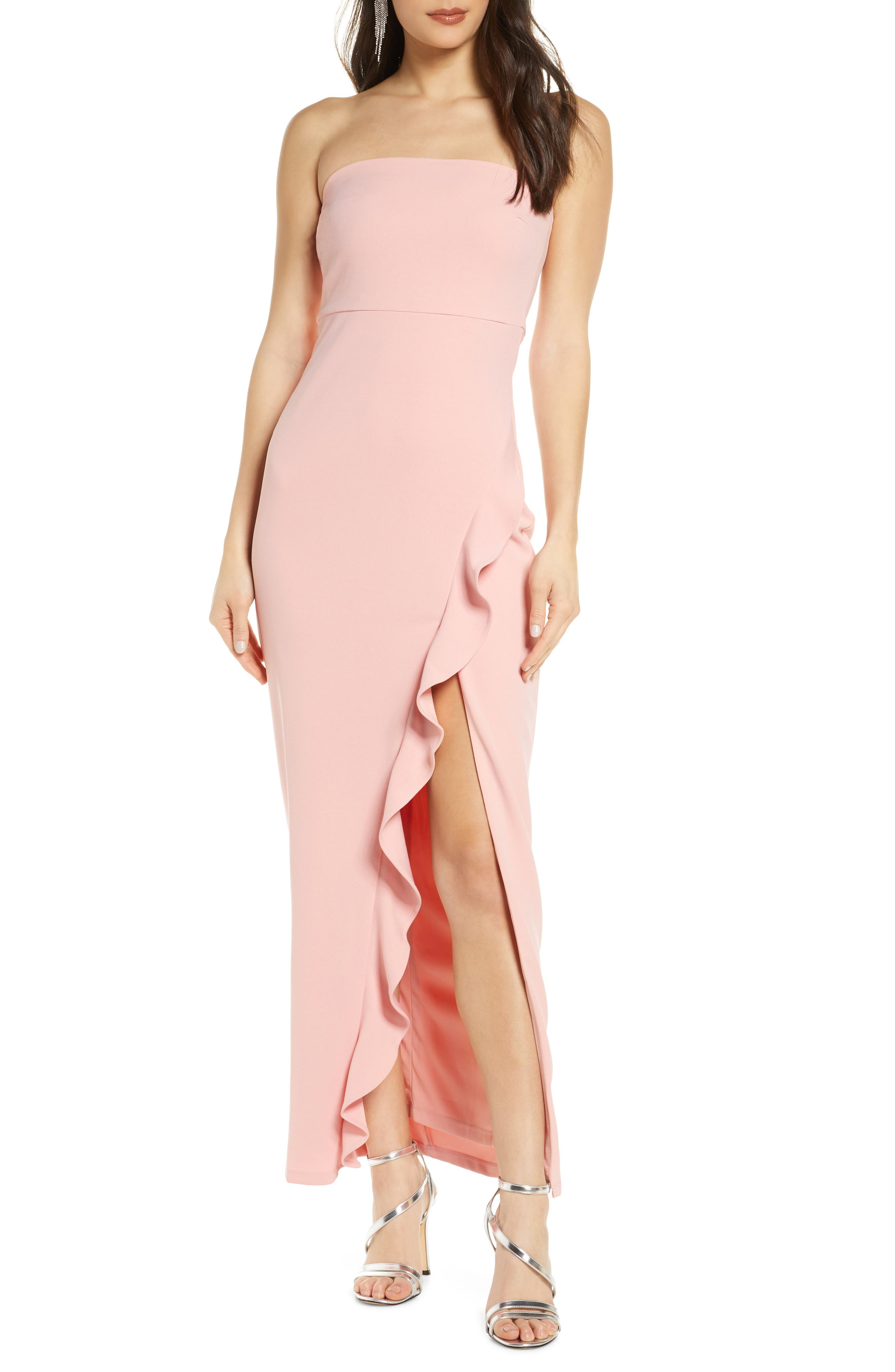 Lulus After Hours Strapless Ruffle Detail Crepe Gown