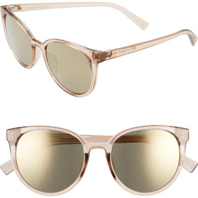Le Specs Armada 5m Mirrored Cat Eye Sunglasses - Stone/ Dark Gold Mirror