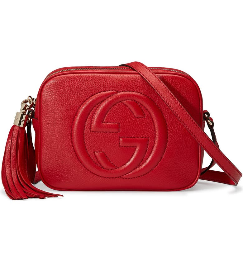 GUCCI Disco Leather Bag, Main, color, 6523 TABASCO