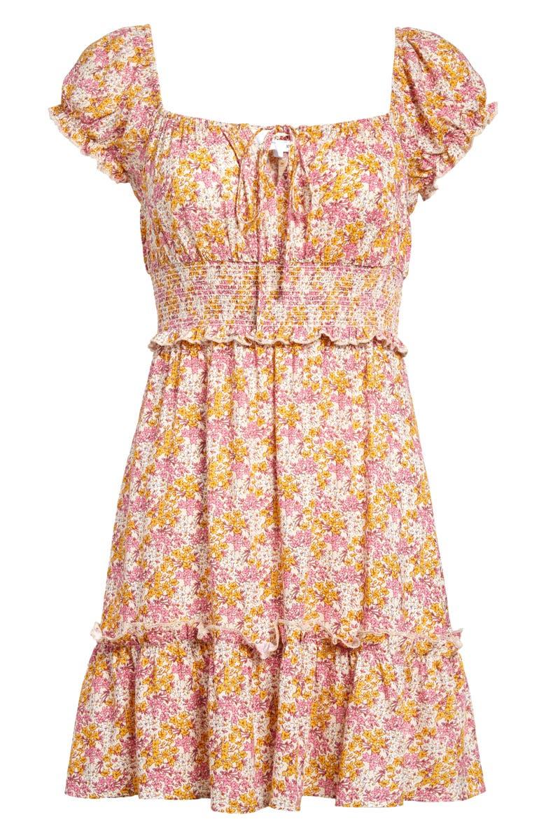 ALL IN FAVOR Smocked Minidress, Main, color, PINK ORANGE FLORAL