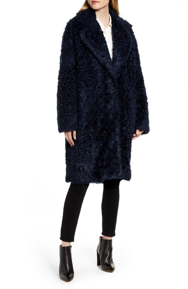 FLEURETTE Faux Shearling Cocoon Coat, Main, color, BLUE