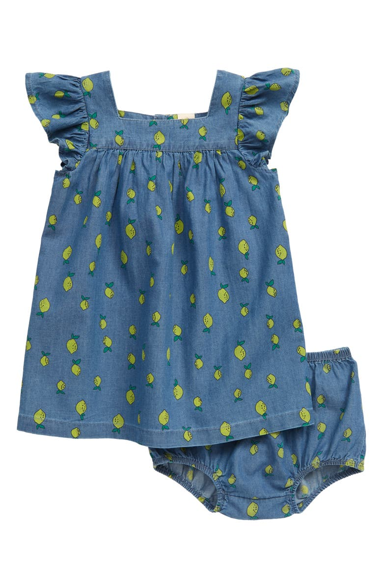 TUCKER + TATE Lemon Print Chambray Dress, Main, color, BLUE CHAMBRAY LEMONS