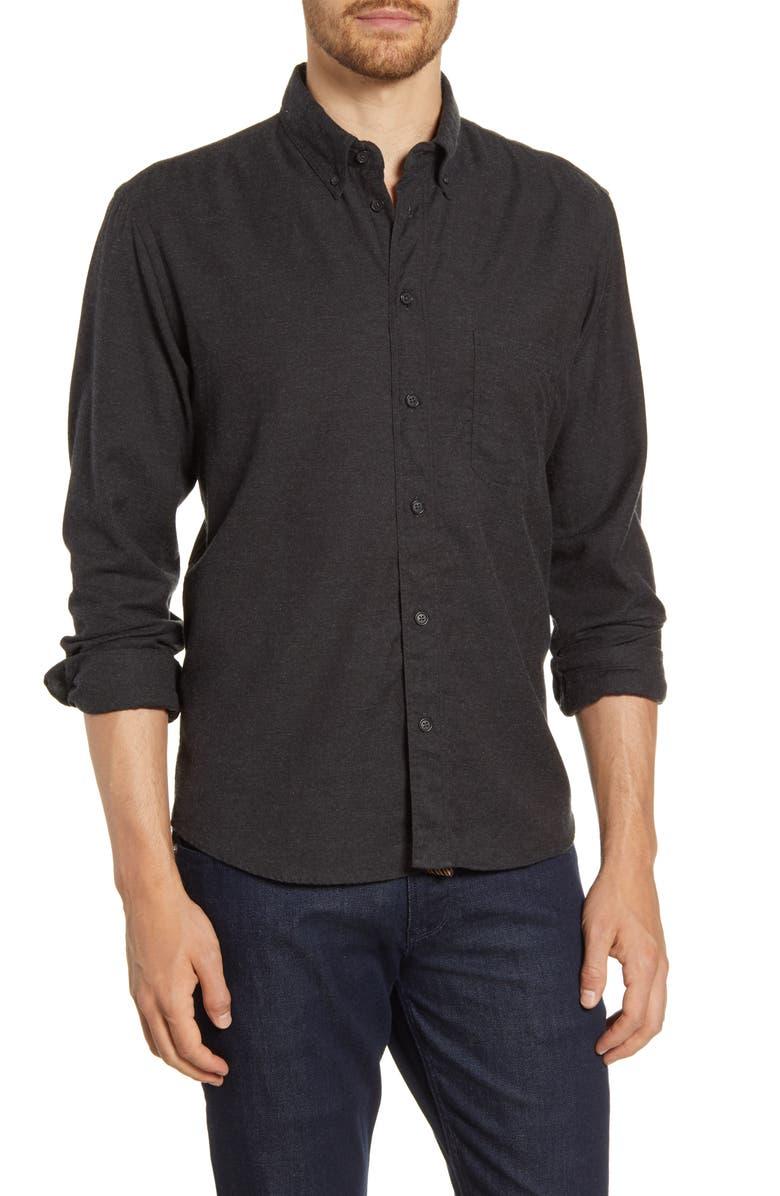 BILLY REID Tuscumbia Standard Fit Cotton & Cashmere Shirt, Main, color, BLACK
