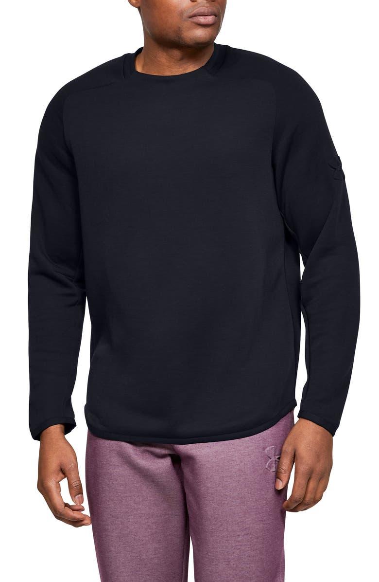 UNDER ARMOUR Unstoppable Move Light Crewneck Performance Sweatshirt, Main, color, BLACK/ BLACK