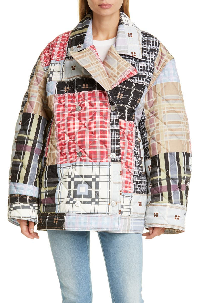GANNI Oversize Quilted Patchwork Jacket, Main, color, 400