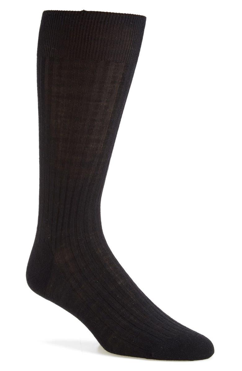 PANTHERELLA Merino Wool Blend Dress Socks, Main, color, BLACK