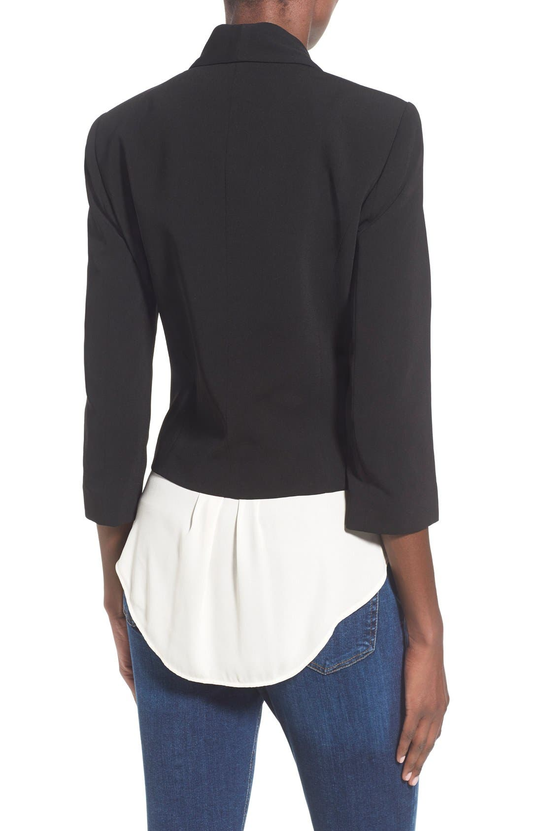 ,                             'Curve' Open Front Shawl Collar Blazer,                             Alternate thumbnail 5, color,                             BLACK