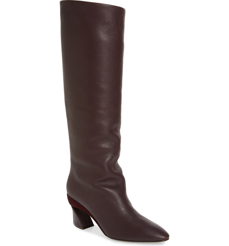 SALVATORE FERRAGAMO Antea Slouchy Knee High Boot, Main, color, DEEP BORDEAUX