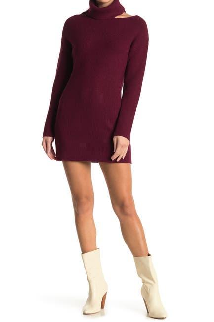Image of Love Stitch Cutout Turtleneck Neck Knit Dress